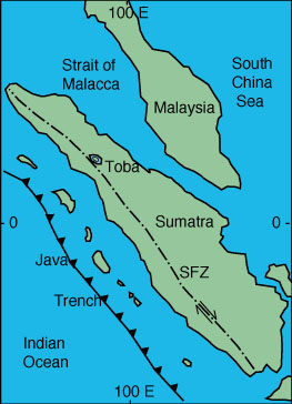 Map indicating the Sumatra Fracture Zone (SFZ).