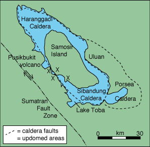 Map of the Toba caldera from Knight and others (1986).