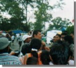 Herizon speaking to a group of refugees in Banda Aceh where he handed out monetary donations