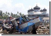 Boat thrown inland in Meulaboh, West Aceh on December 26th 2004 from tsunami waves.